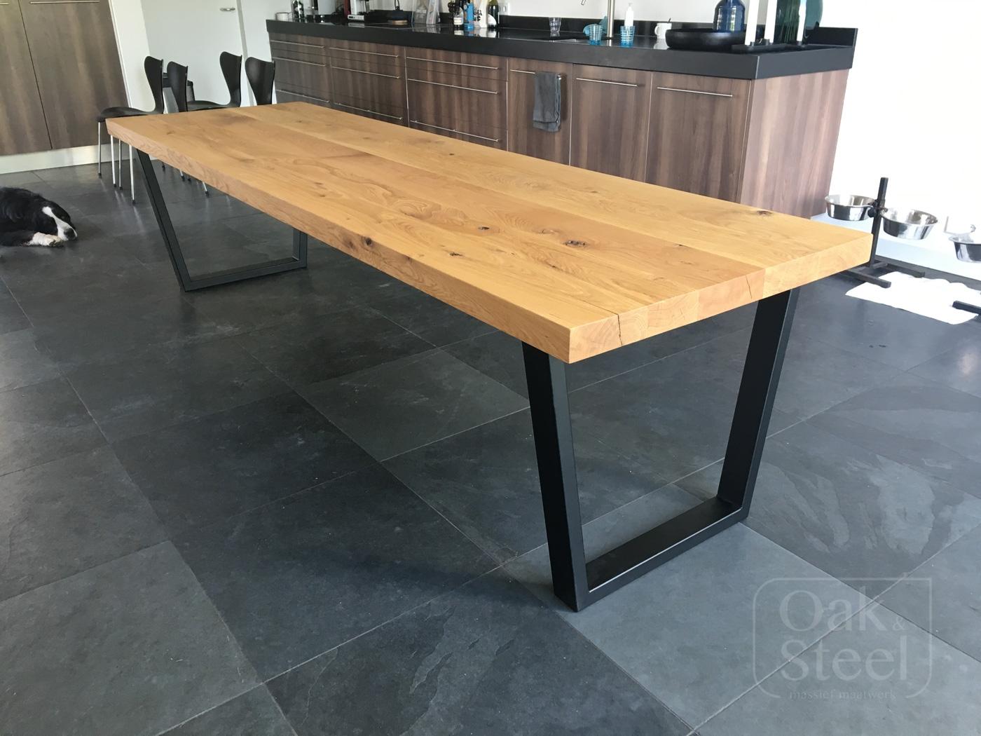 Massief Eiken Eettafel 6 Stoelen.Portfolio Oak Steel