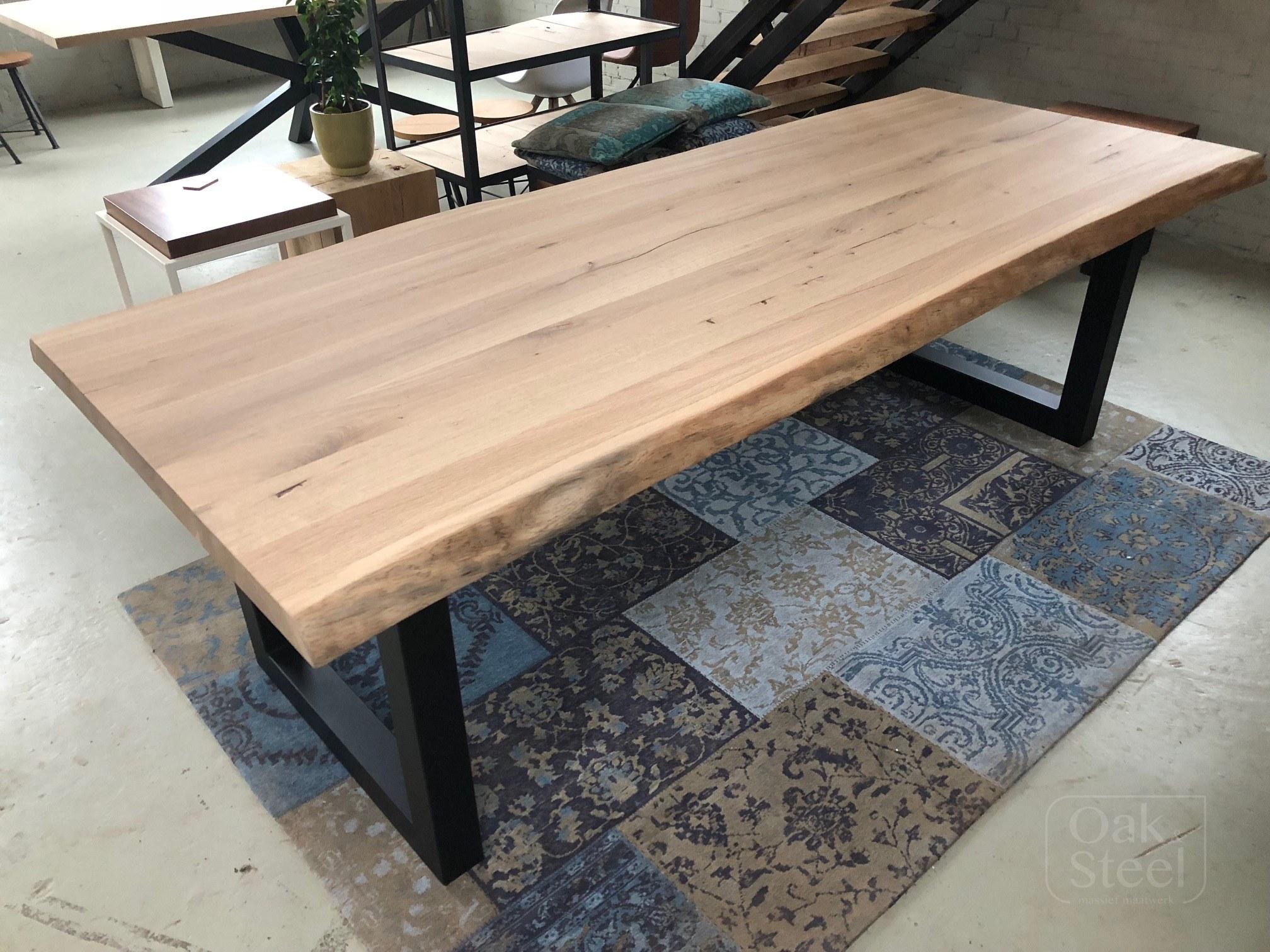 Eiken Tafels Schijndel : Massief eiken boomstam tafels oak steel