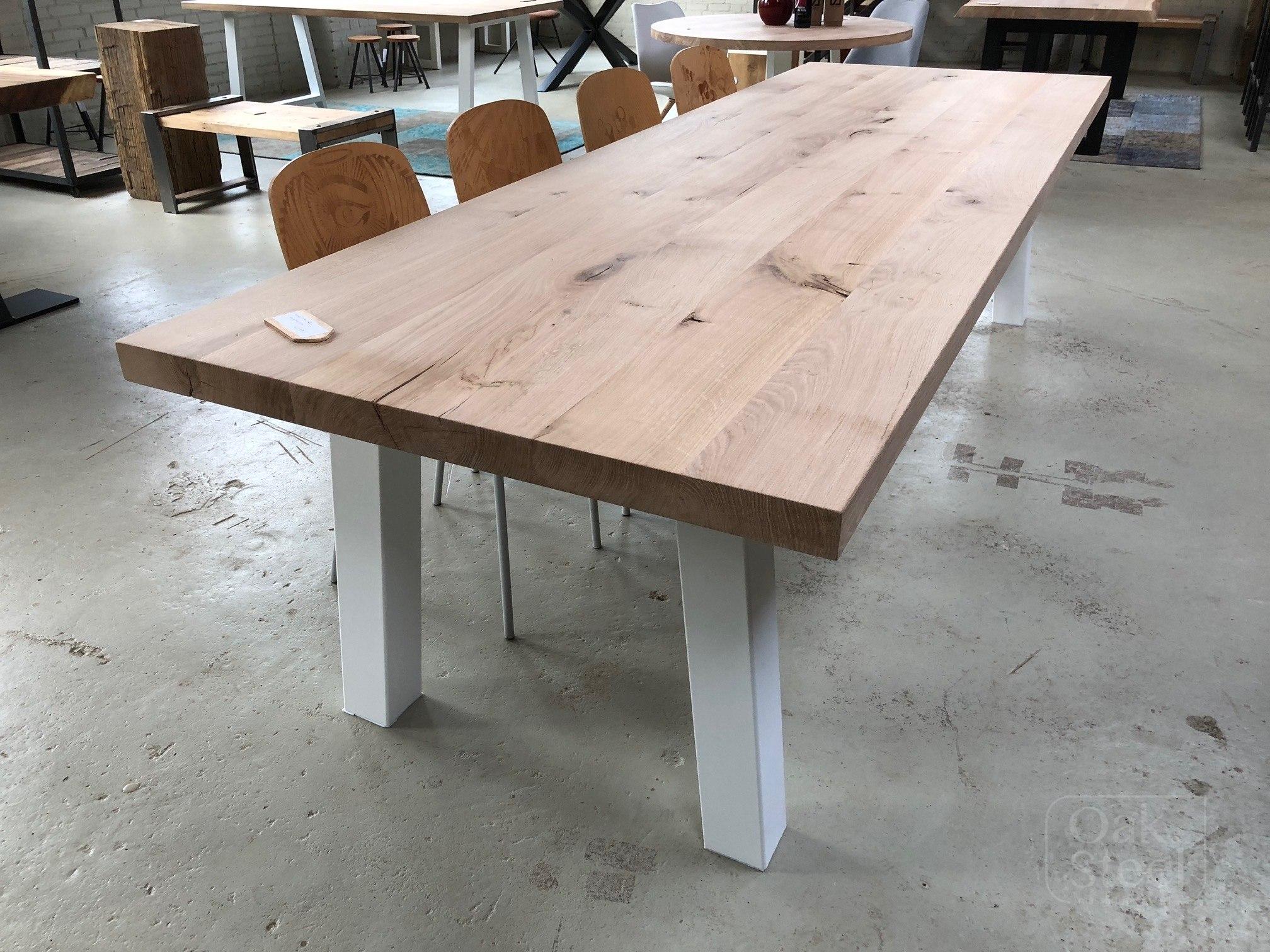 Massief eiken rechthoek tafels oak steel