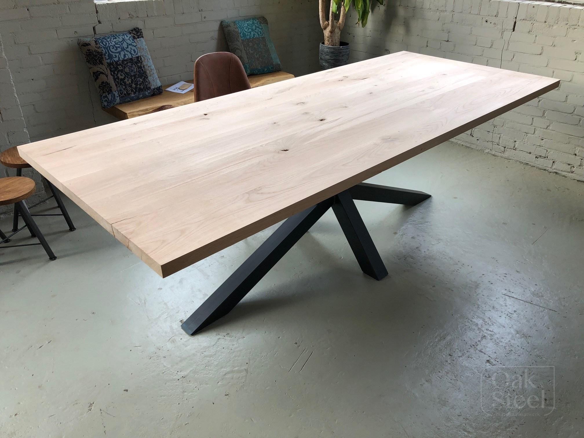 Eiken Tafels Schijndel : Massief eiken rechthoek tafels oak steel