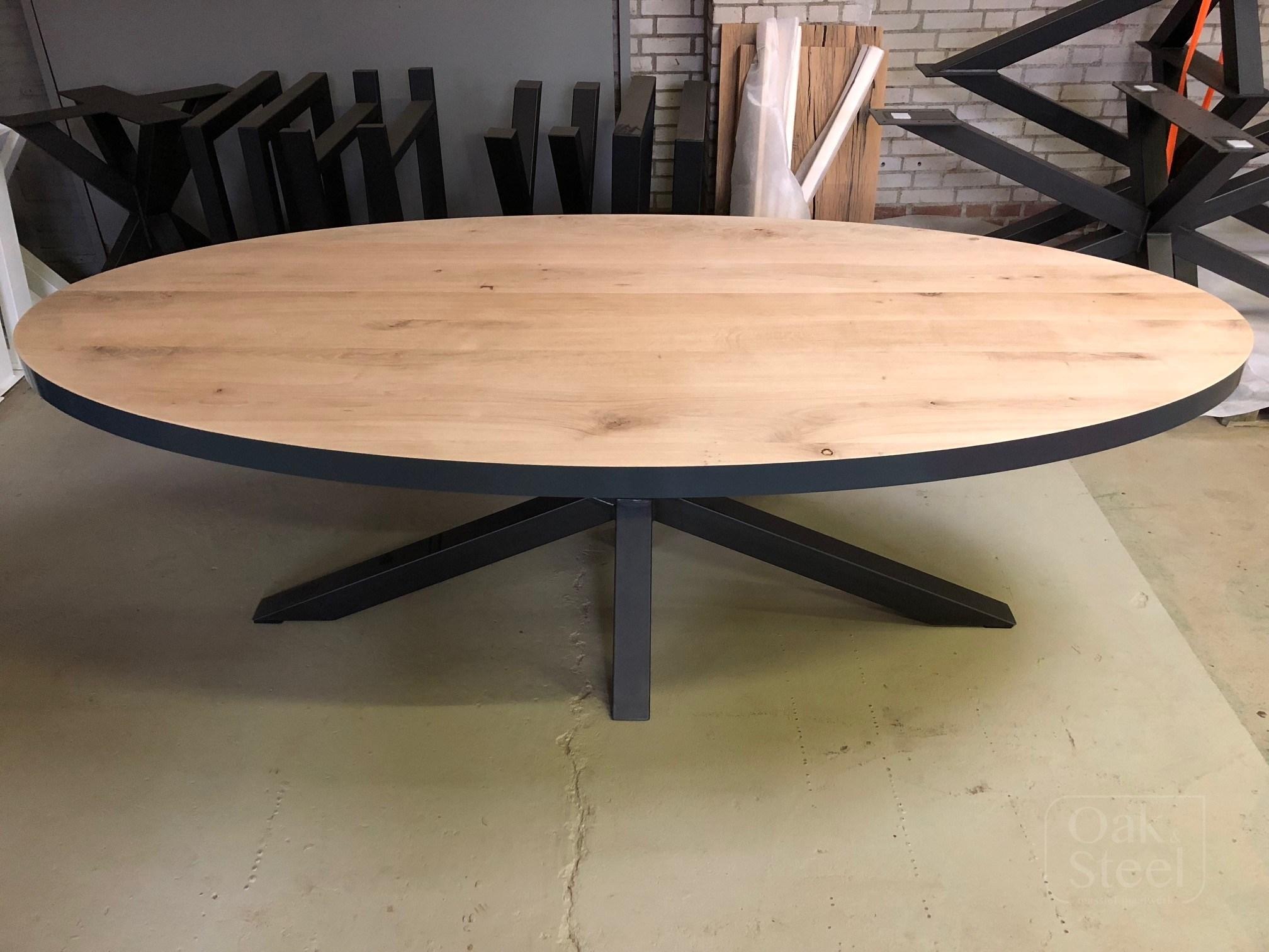Massief eiken ovale tafels oak steel