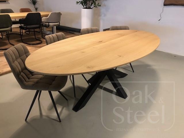 Ovale tafel massief eiken, 4 cm