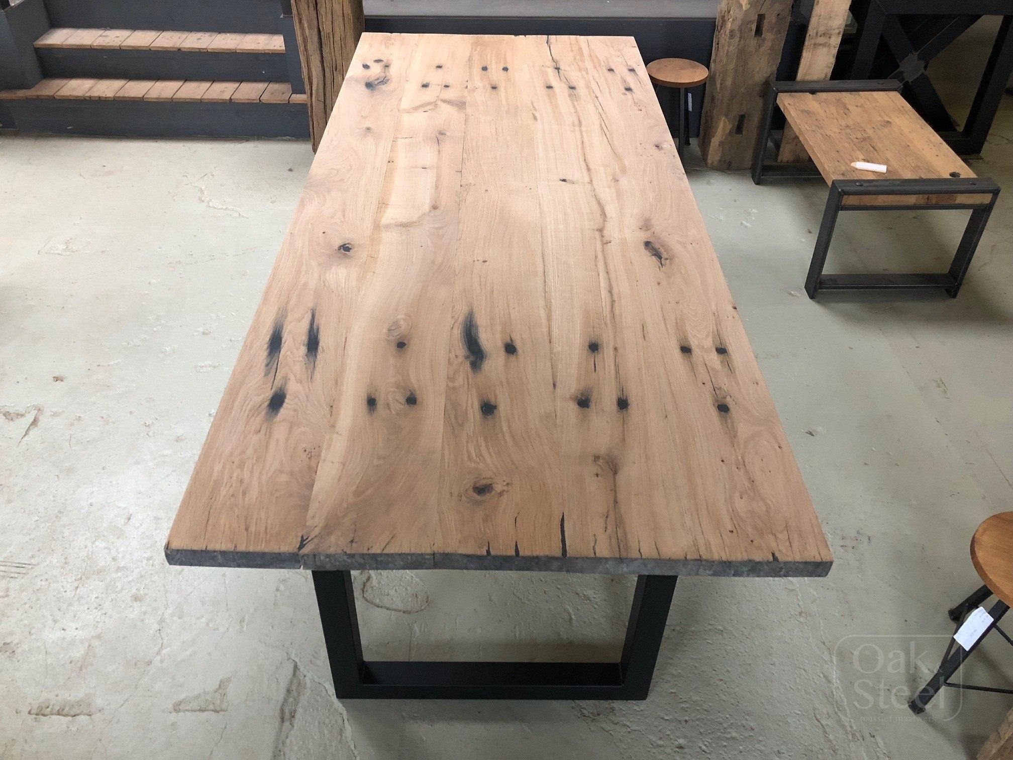 Robuuste Industriele Tafels.Industriele Eettafel Spoorbielzen Oak Steel
