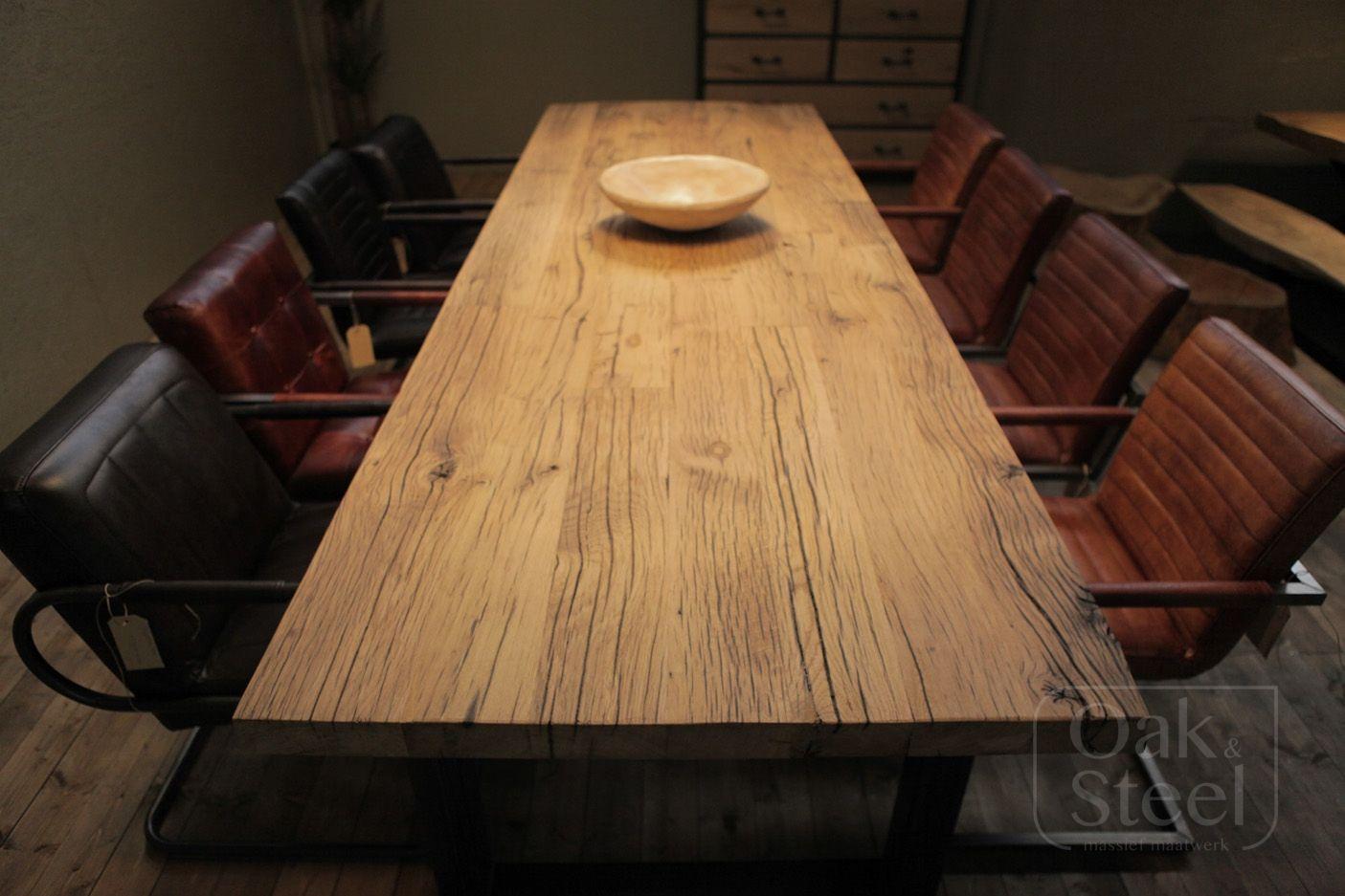 Robuuste industriële tafel van gebruikt Oud Eiken