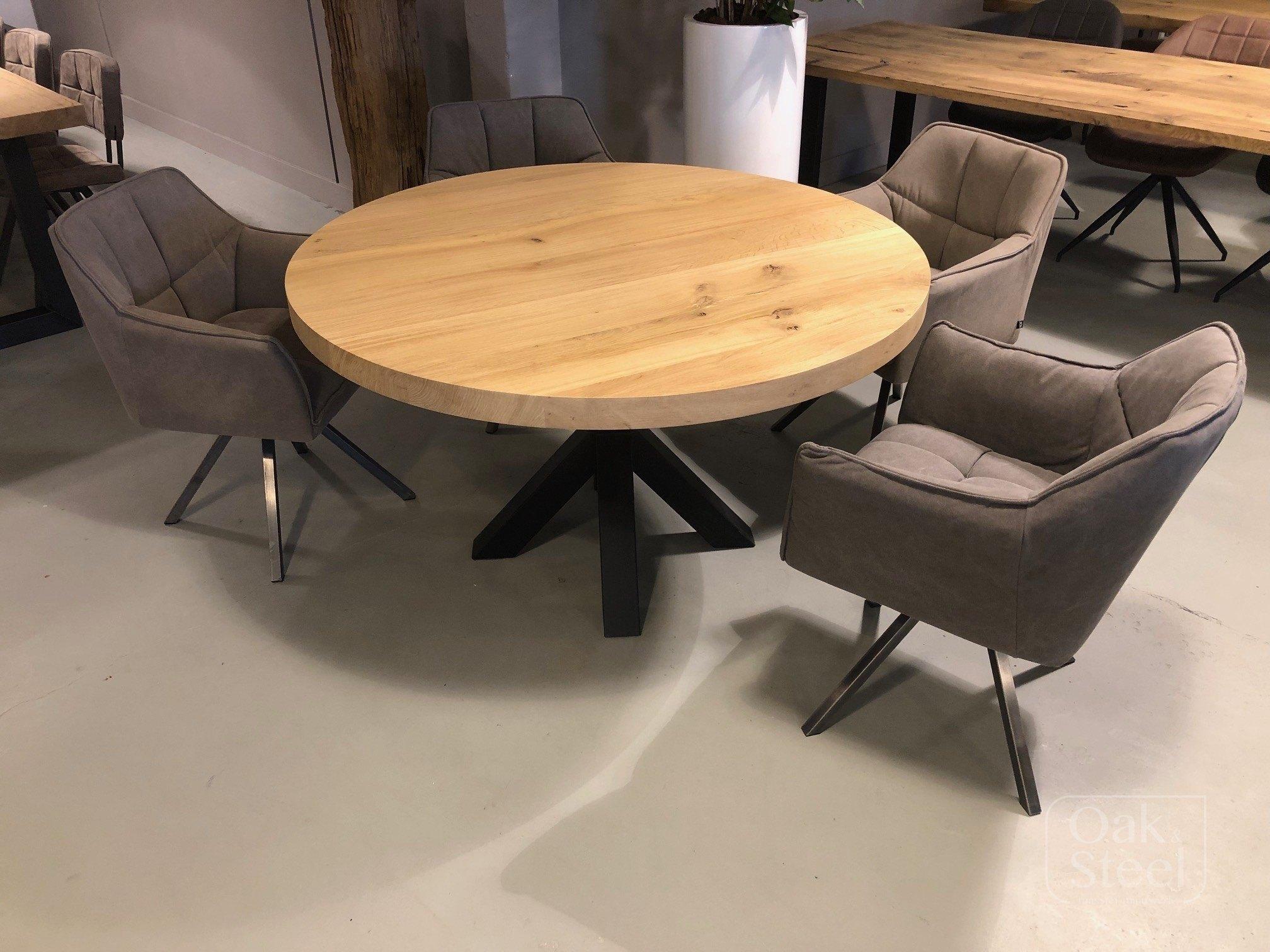 Ronde tafel van massief eikenhout, van 6 cm dik