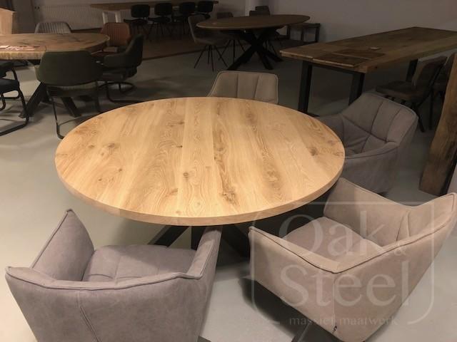 Ronde eiken tafel van 4 cm dik massief eikenhout